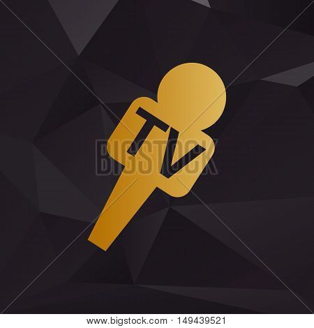 Tv Microphone Sign Illustration. Golden Style On Background With Polygons.