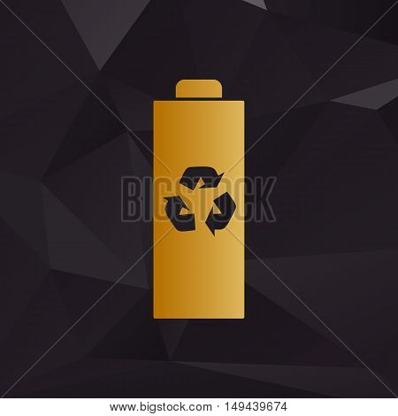 Battery Recycle Sign Illustration. Golden Style On Background With Polygons.