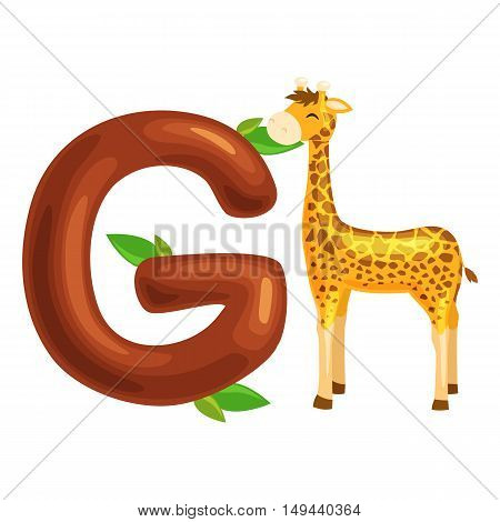 animal giraffe and letter for kids abc education in preschool.