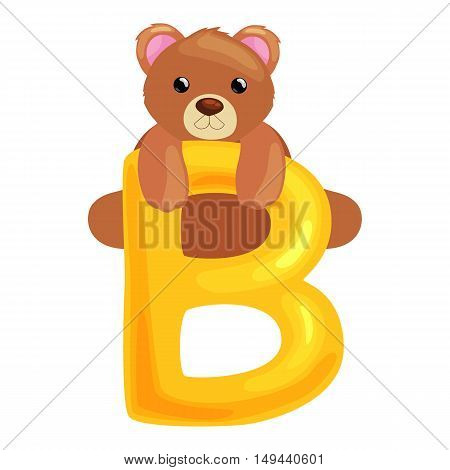 bear animal and letter for kids abc education in preschool.