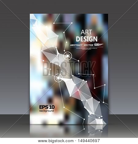 Abstract composition, polygonal construction, triangle puzzle icon, connecting dots and lines, a4 brochure title sheet, big city background, urban lights surface, movement backdrop, EPS 10