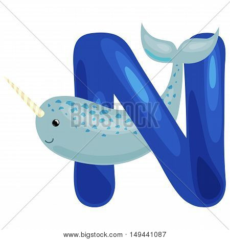 narwhal animal and letter N for kids abc education in preschool.