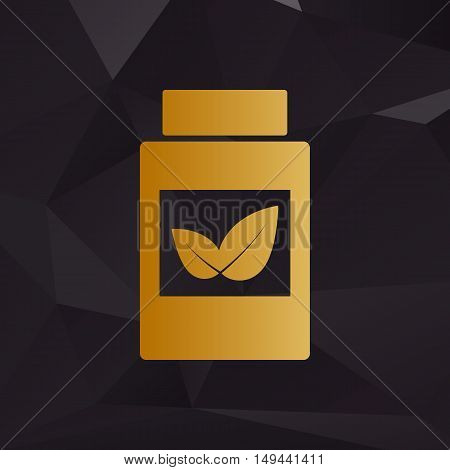 Supplements Container Sign. Golden Style On Background With Polygons.