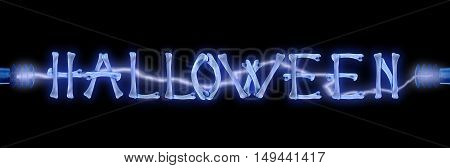 Word Halloween made of crossed bones and Electric lighting