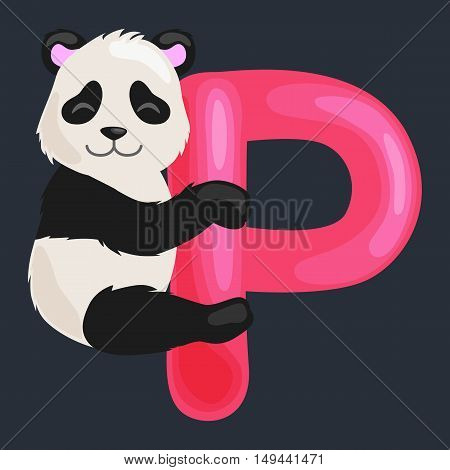 animal panda and letter P for kids abc education in preschool.