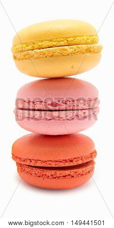 the colorful stacked macarons  on white background