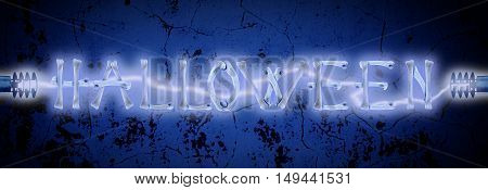 Word Halloween made of crossed bones and Electric lighting on old wall texture. Halloween concept.