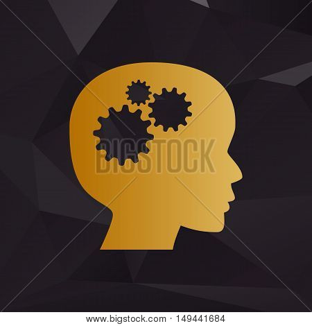 Thinking Head Sign. Golden Style On Background With Polygons.