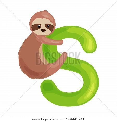 sloth animal and letter s for kids abc education in preschool.
