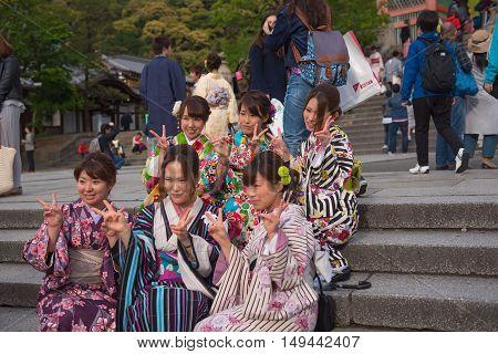 KYOTO, JAPAN - APRIL 29 , 2016 : Japanese women kimono , national costume of Japan. soft focus . Kyoto, Japan. APRIL 29 2016.
