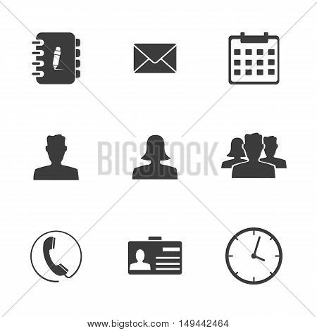 Office set icons. Office set Vector icons isolated on white background. Flat vector illustration in black. EPS 10