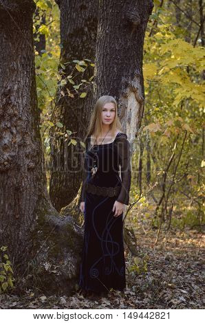Young Girl In A Fantasy Long Black Dress Posing In An Autumn Forest