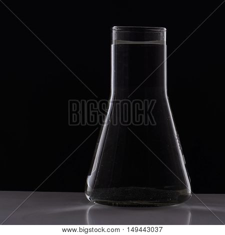 Glass Erlenmeyer Flask With Water In The Laboratory