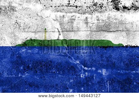 Flag Of Navassa Island (unofficial, Disputed), Painted On Dirty Wall