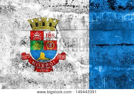 Flag Of Niteroi, Brazil, Painted On Dirty Wall