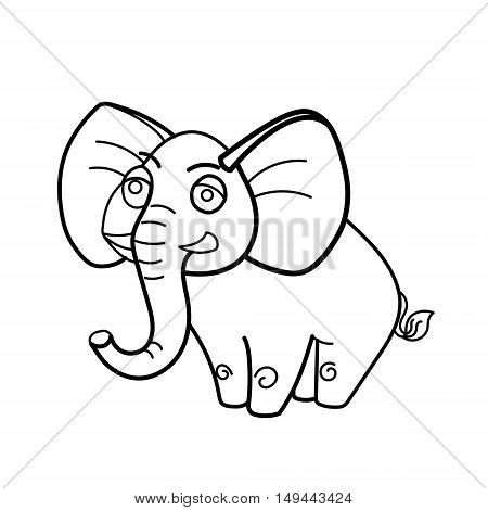 Coloring book elephant african animal cartoon educational vector illustration