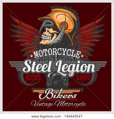 Vintage Biker Skull Emblem - wings, skull in helmet and engine