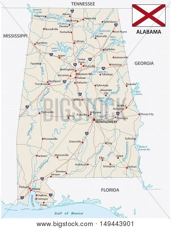 road vector map of the US state alabama with flag
