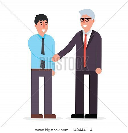 Young employee and senior businessman shaking hands and smiling. Boss and manager agreement for cooperation. Deal handshake vector illustration.