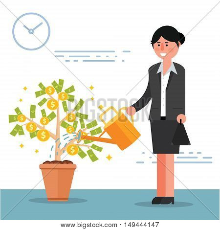 Successful young businesswoman or broker watering money tree. Cartoon vector illustration of female manager or lady boss as concept of financial growth and investment