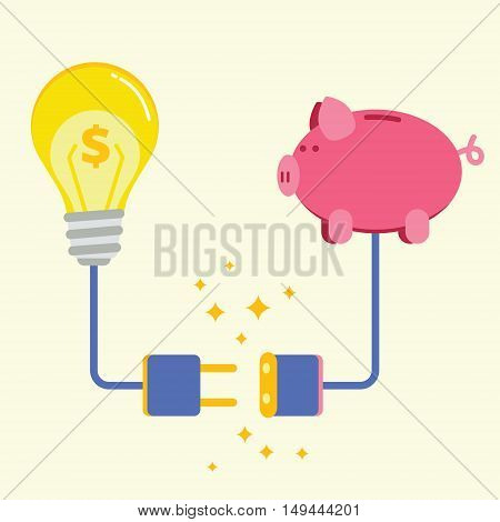 Piggy bank and lamp with electric plug socket. Commercial project or startup funding donation investment concept. Successful business idea financing image. Flat style vector illustration.