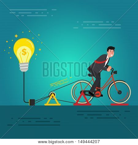 Young businessman or broker riding bicycle on a dynamo generator with light bulb. Brainstorming birth of idea for startup concept. Business innovation image. Vector illustration