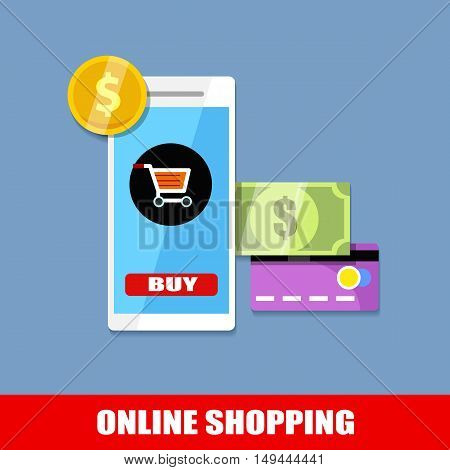 online shopping, flat business colorful concept design