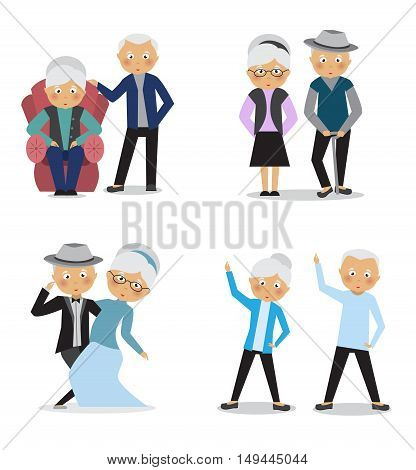 Elderly people on a white background .