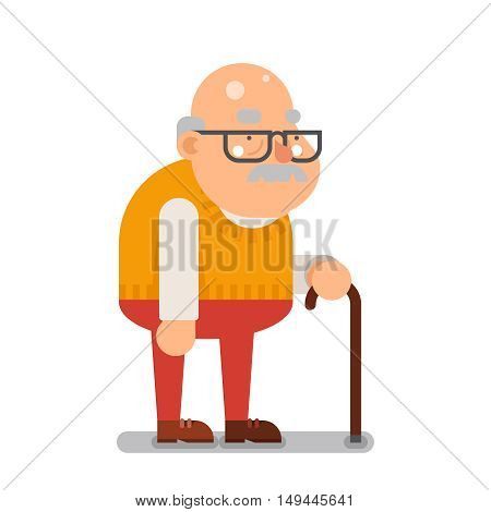 Grandfather Old Man Character Cartoon Flat Vector illustration