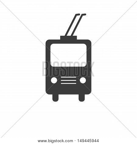 Trolleybus icon. Trolleybus Vector isolated on white background. Flat vector illustration in black. EPS 10