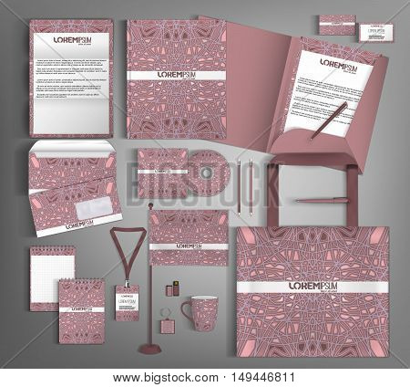 Corporate identity template design with purpler abstract pattern. Business stationery set.