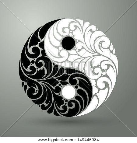 Yin Yang pattern symbol vector illustration Ornate decorative isolated symbol