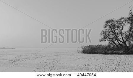 Black and white photo of the winter landscape on the frozen lake