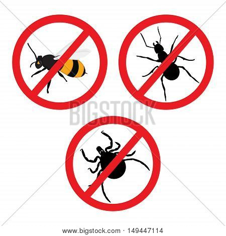 Vector illustration insect prohibition sign. Mite bee and ant