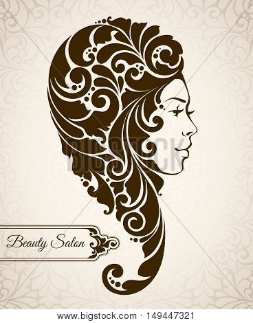 Beauty salon, cosmetics, spa logo. Beautiful elegant vintage woman silhouette with ornamental long hair braided. Vector illustration