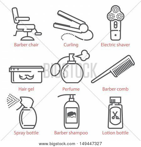 Vector Linear Icons Set With Barber Equipment And Accessories For Infographics And Ux Ui Kit