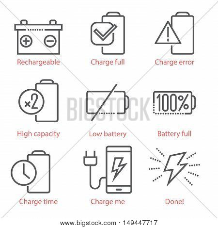 Vector Linear Icons Set With Battery And Eco-energy Theme For Infographics And Ux Ui Kit