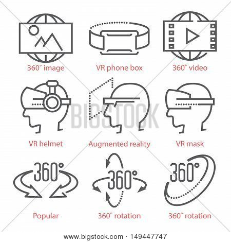 Vector Thin Line Icons Set With 360 Degree View Icons, Virtual Reality Equipment And Accessories For