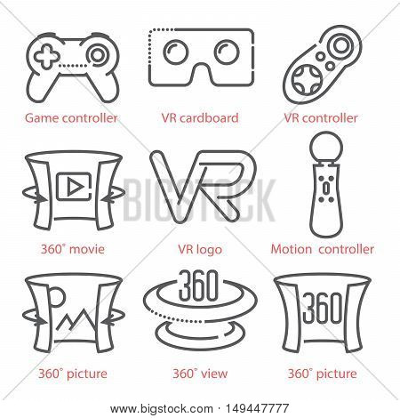 Vector Thin Line Icons Set With Virtual Reality Equipment And Signs For Infographics, Ux Ui Kit, Web