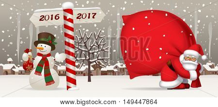 Santa Claus carrying a big red sack, snowman and wooden sign showing the way to 2017 against the the winter country landscape. Easy to insert on a classic mug. Christmas and New Year greeting card.