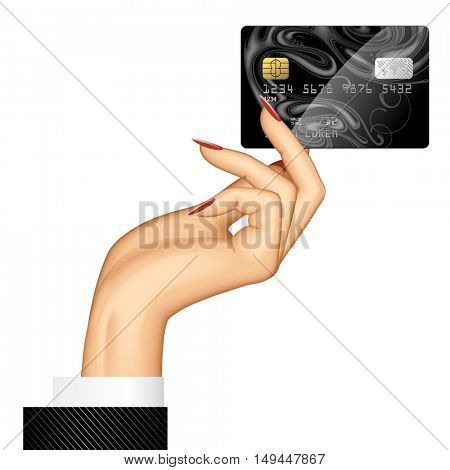 Hand of woman holding a credit card. 3D illustration