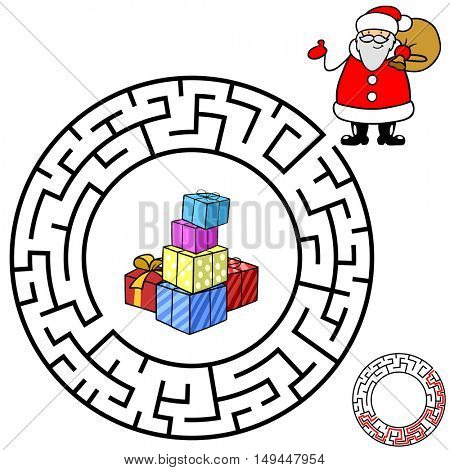 Christmas maze game with Santa Claus and presents
