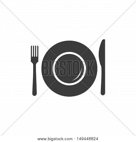 Plate icon. Plate Vector isolated on white background. Flat vector illustration in black. EPS 10