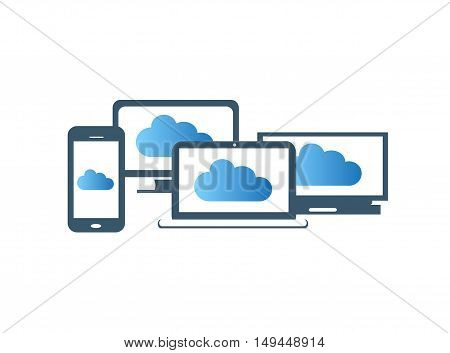 Computer devices , smartphone, laptop, office computer with clouds