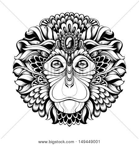 Highly detailed abstract ornate zentagle monkey vector illustration. Mask monkey with ethnic motifs. Hand drawn black and white graphics. Tattoo design, poster, print, T-shirt, greeting card