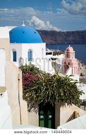 Panorama of Oia village in Santorini (Greece)