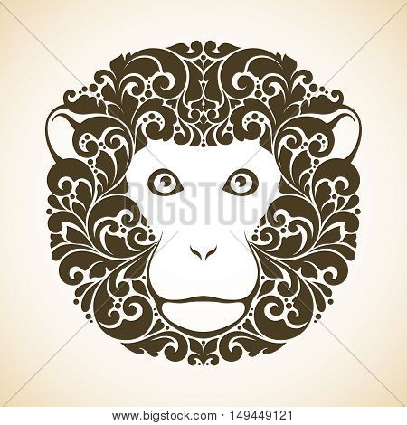 Ornamental decorative monkey. Monkey pattern face isolated vector illustration. Animal graphic art. Red monkey - symbol of 2016