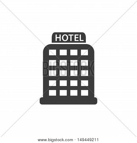 Hotel icon. Hotel Vector isolated on white background. Flat vector illustration in black. EPS 10