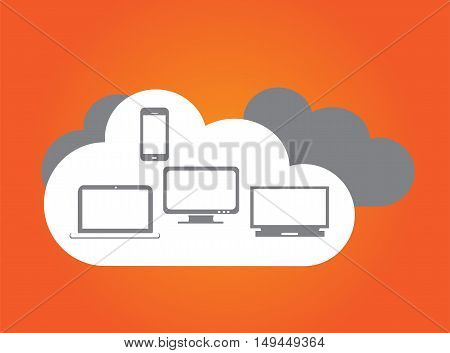 Cloud orange color with computer devices flat design