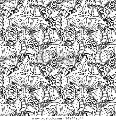 Seamless pattern in doodle style. Floral, ornate, decorative, forest vector design elements. Black and white background. Leaves, moss, chanterelle mushroom. Zentangle hand drawn coloring book page